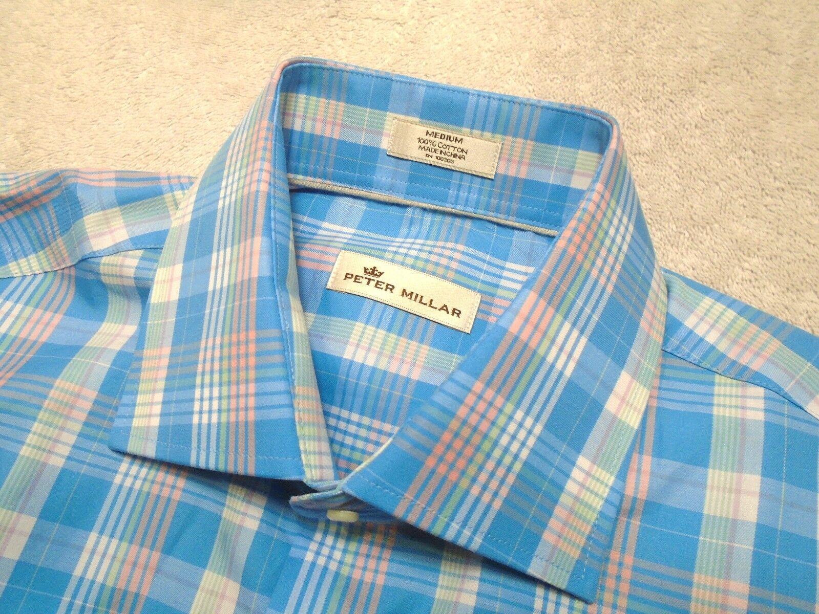 Peter Millar 100% Woven Cotton bluee & Pink Plaid Sport Shirt NWT  Medium