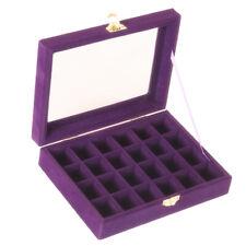 Jewelry Earring Display Case Storage Box Organizer Holder Gift 24slot Purple