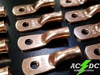 """4 gauge Ring 1//2/"""" Hole Terminal BATTERY Lug Bare Copper Un-insulated AWG 10"""