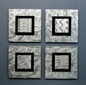 Metal Abstract Modern Silver Wall Art  Four Sculptures Original  By Jon Allen