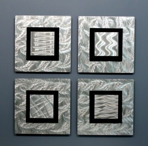 Statements2000 Modern Metal Wall Art Silver Black Accent Decor Panels Jon Allen