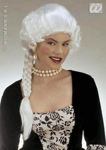 Ladies Long White Wig With Plait Duchess Royalty Venetian Fancy Dress