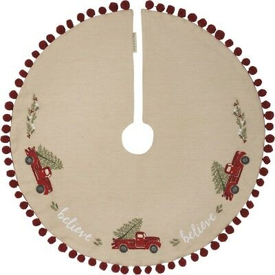 """NEW Primitives by Kathy Christmas 24/"""" Small Vintage Inspired Red Tree Skirt"""