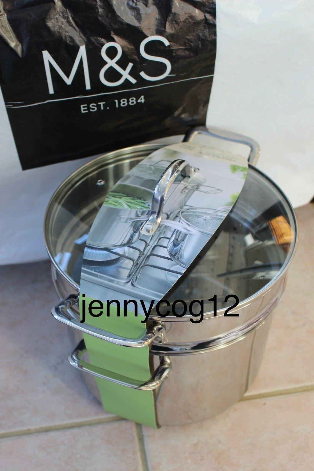 Marks Spencer m&s Home Acier Inoxydable Casserole Pates Casserole Cuisinière + Passoire Entièrement neuf sous emballage