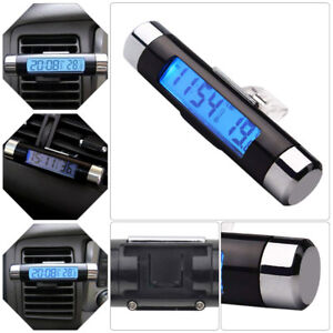 Auto Car Digital LCD Play Clock Temperature Thermometer Voltage Meter Monitor