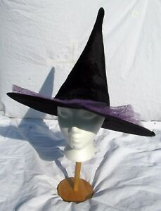 Black-Purple-Fancy-Witch-Hat-Girl-Adult-Size-Women-Halloween-Costume-Tree-Topper