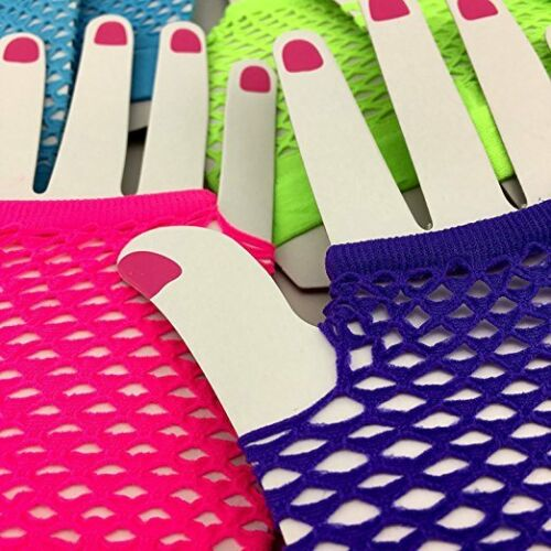 Assorted Neon Color Fingerless Fishnet Gloves Pop Rock Star 80/'s Disco Rave LOT