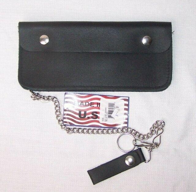 "Biker Chain Wallet Black Leather Trifold Trucker Checkbook Organizer 7/"" USA Made"