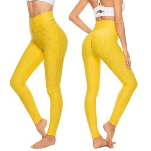 Women High Waist Yoga Pants Booty Scrunch Anti Cellulite Leggings Gym Fitness
