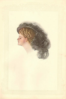 Harrison Fisher, Victorian, Pretty Lady, Black Hat w Feather 1908 Antique Print.