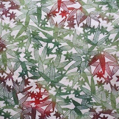"Vintage Kimono Quilt Silk Fabric Cream Green Leaves Classic Style 99cm 39"" #168"
