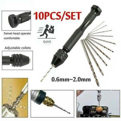 Aluminum Mini Micro Hand Drill With Keyless Chuck 10 Twist Drills Rotary T7V6