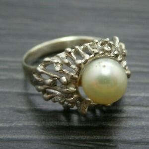 Vintage Sterling Silver /& Cultured Pearl Ring Size 4.75