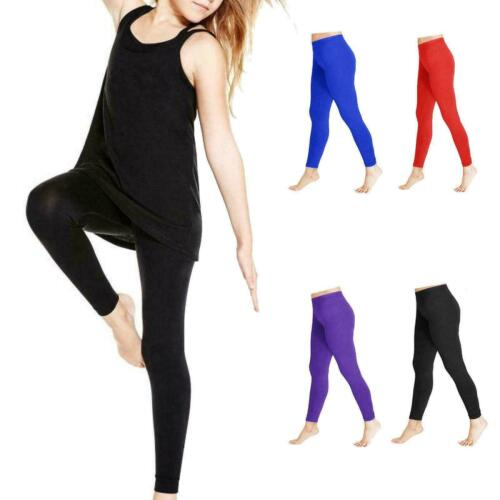 Girls Kids Shiny Dance Gymnastic Leggings Ballet Stretch Elasticated Childrens