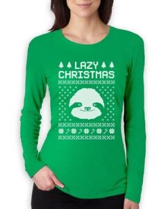 Sloth Christmas Sweater.Details About Big White Sloth Face Lazy Ugly Christmas Sweater Funny Women Long Sleeve T Shirt