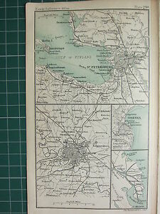1904 SMALL MAP ~ CHRISTIANIA ENVIRONS CITY PLAN ~ STOCKHOLM STATIONS KUNGS HOLM