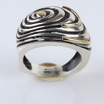 Great New Sterling Silver And 14k Yellow Gold Spiral Ring