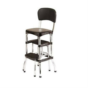 New Vintage Kitchen Retro Chair Bar Step Stool Black Ebay