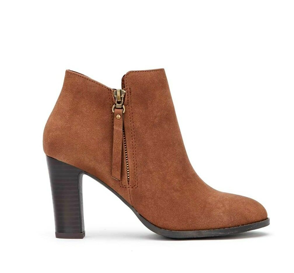 Wallis Aluna damen UK 6 & 8 Tan braun Zip Up Western Style Heeled Ankle Stiefel