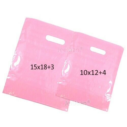 50 LIGHT PINK PLASTIC CARRIER BAGS PATCH HANDLES MIXED SIZES Small Medium