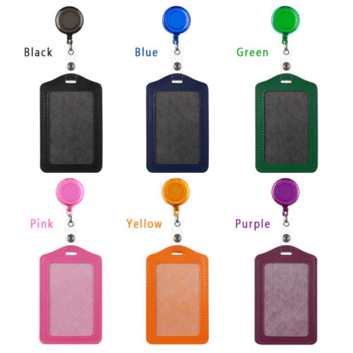 Leather Office Student Nurse ID Badge Case Card Holder with Retractable Clip Hot