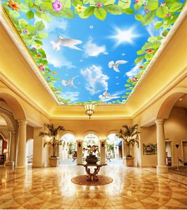 3D Leaves Pigeon 734 Ceiling WallPaper Murals Wall Print Decal Deco AJ WALLPAPER