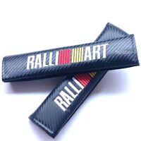 Jdm 2x Ralliart Carbon Fiber Style Seat Belt Cushions Shoulder Pads Evo