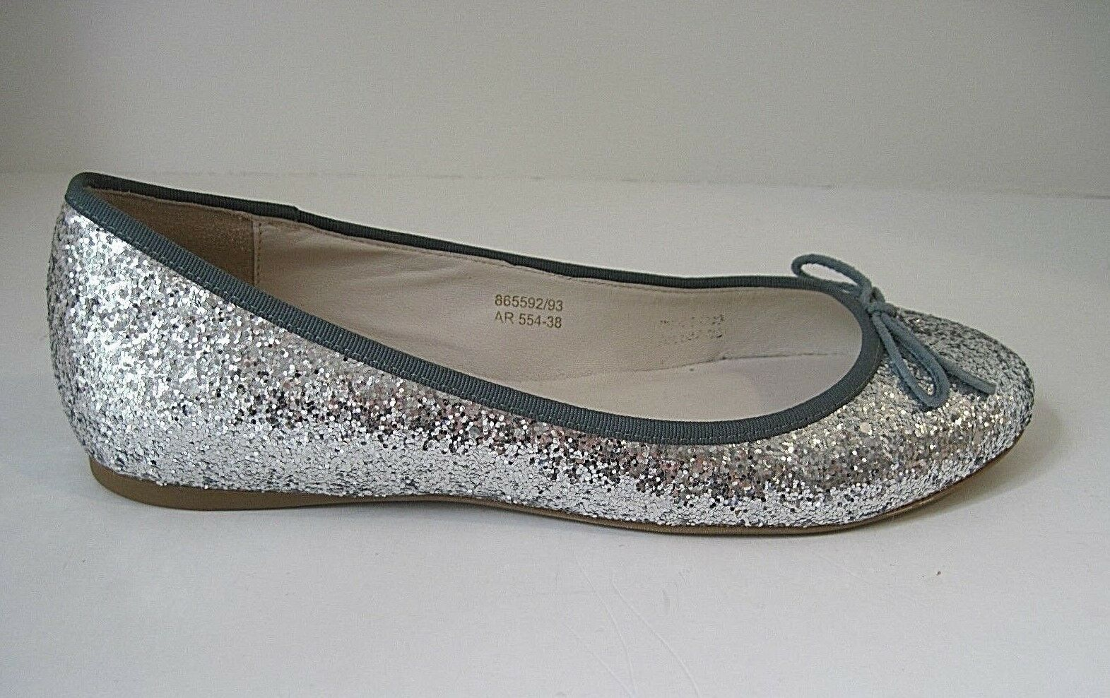 Boden Silver Glitter Flats Green Canvas Trim Front Bow Size 38, NEW