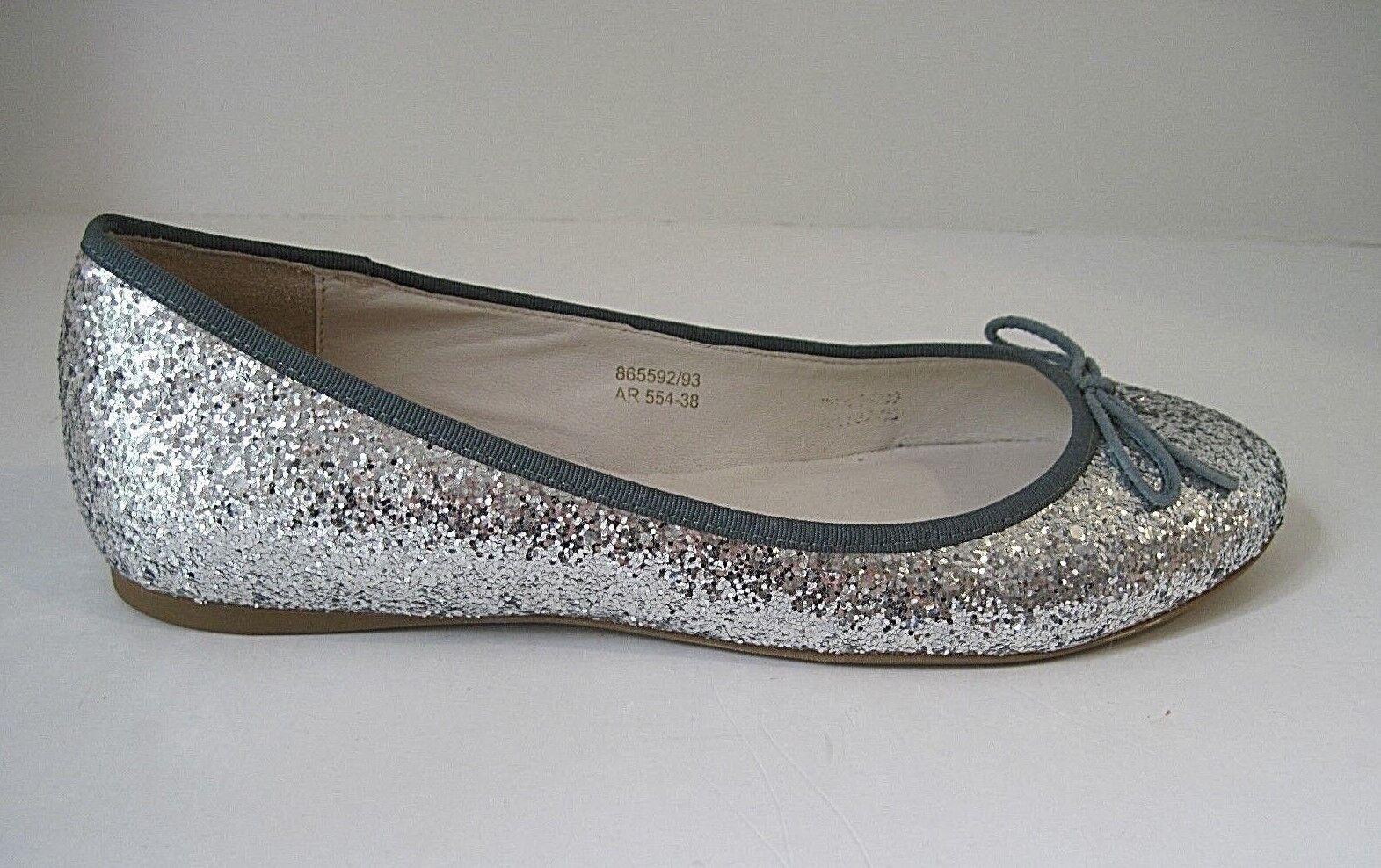 Boden Silver Glitter Flats Green Canvas Trim Front Bow Größe 38, NEU