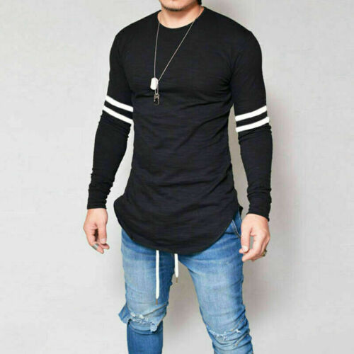 Men/'s Fashion Long Casual Tops Slim Tee T-shirt O-Neck Muscle Blouse Fit Sleeve