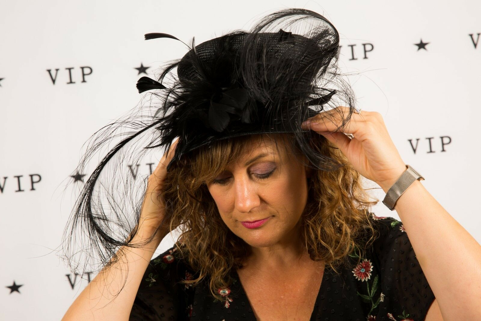 Oversized feather bow black formal hay Gwyther Snoxell Wedding Races Christening
