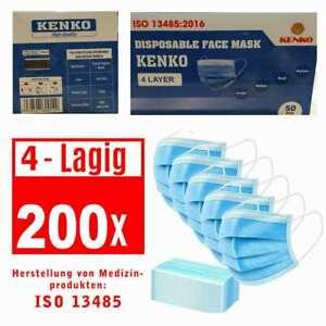 200 Stück ISO NORM Schutz-Masken Mundschutz-Masken 4 Lagig Einwegmaske OP-Maske