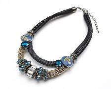 CC693 * Collier Plastron Double Cordons Chaînes Pierres Mode Femme - Bleu/Noir