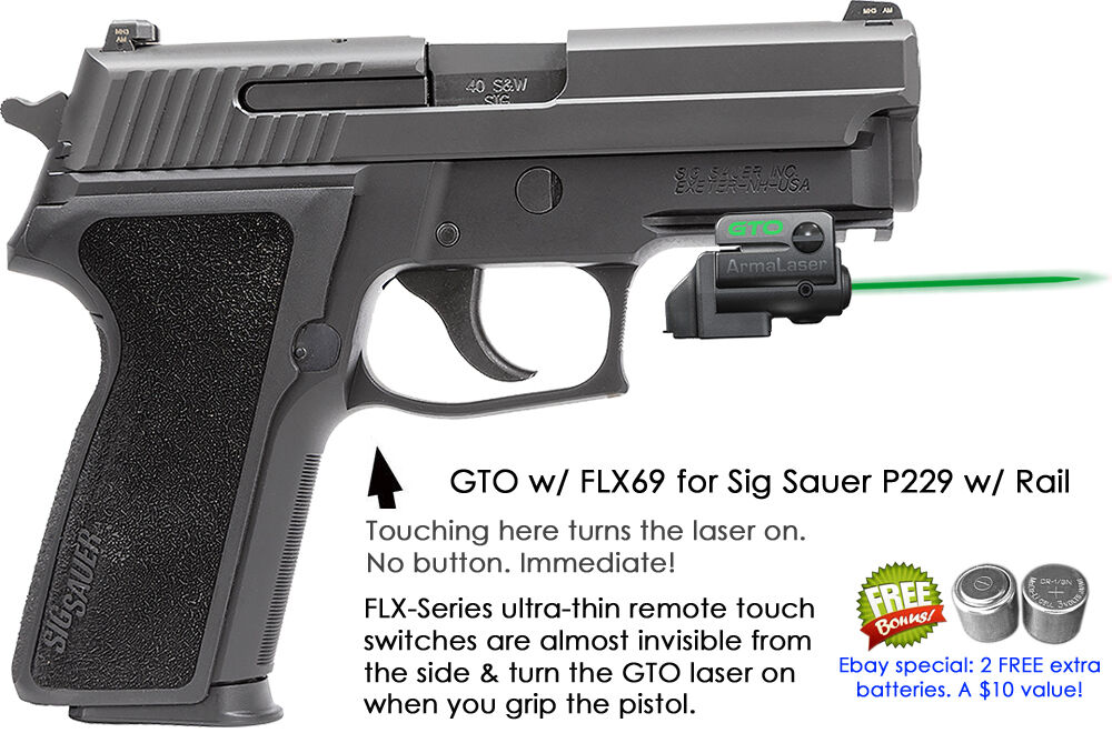 ArmaLaser GTO for Sig Sauer P229 w rail - GREEN Laser Sight w  FLX69 Grip Touch