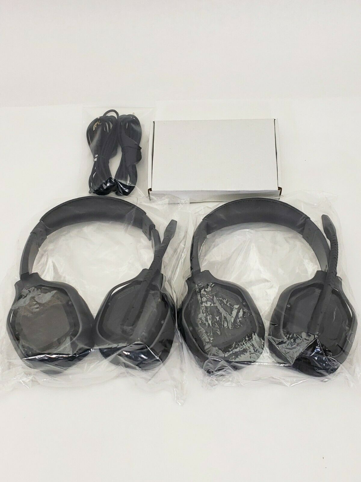 (Lot of 2) - Amazon Basics Pro Gaming Headset -W/ Aux Cable & Controller - Black