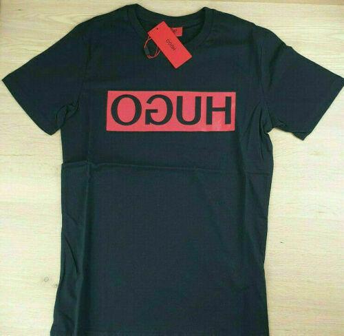 HUGO Boss Herren Schwarz T-Shirt kontrastierendem Logo-Print