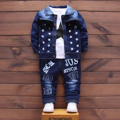 Infant Baby Kids Girl Boys Letter Demin Coat+Shirt+Pants 3PCS Outfit Clothes KI
