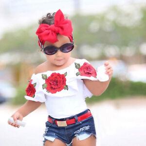 Toddler-Kids-Baby-Girls-Off-Shoulder-3D-Rose-Flower-T-Shirt-Tops-Outfits-Clothes