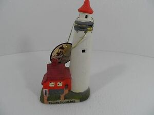 "Porcelain Ceramic TAWAS PT. MI LIGHTHOUSE - LIGHTHOUSE COLLECTION, 7-1/2"" Tall"