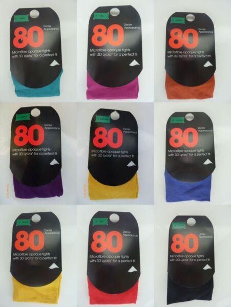 1 Par De Primark 80 Denier Medias Brillante Color Verde, Azul, Negro, Naranja, Azul-ck,orange,blue Ver Tan Efectivamente Como Lo Hace Un Hada