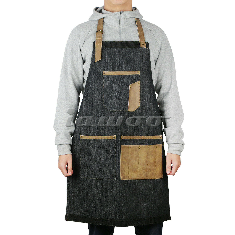 Women Denim Bib Apron Barista Baker Bartender BBQ Chef Work Uniform Cook Apron