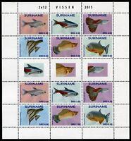 Surinam 2015 Fische Fishes Poissons Pesci Meerestiere Kleinbogen ** MNH