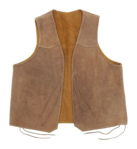 Vintage Suede Leather Motorcycle Vest S Small Mens