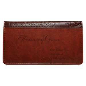 AMAZING-GRACE-Checkbook-Cover-Brown-Faux-Leather