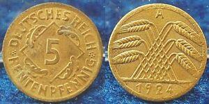 5-Pfennig-J-308-1924A-Lack-Coinage-Vz-Prfr-Blank-to-Thin-1-35g
