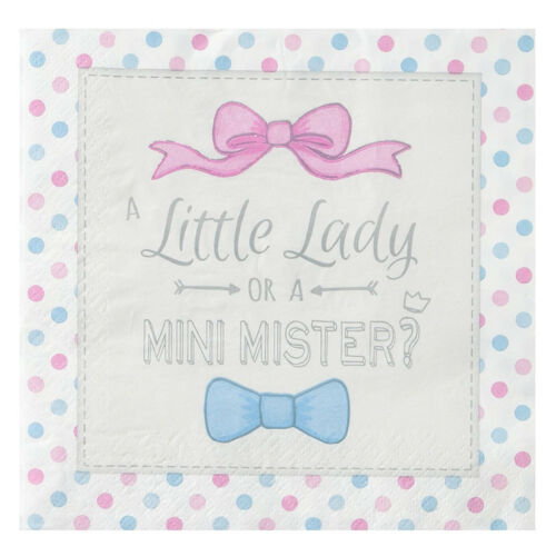 "Servietten /""Little Lady Mini Mister/"" 20 Stk Napkins Baby Shower Tischdeko Buffet"
