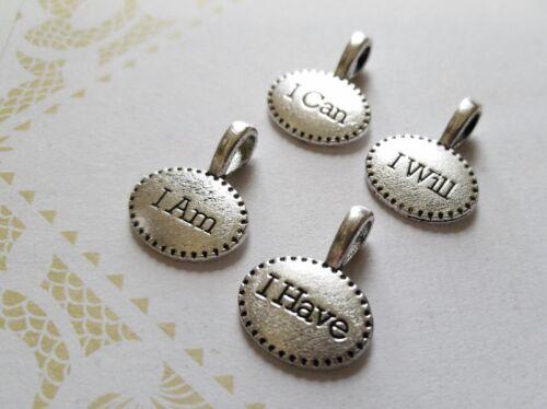 Citation Charms mot Charms Assorted Lot Argent Inspirational charms je suis je peux 4