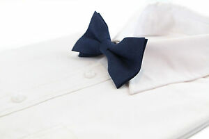MENS-VELVET-NAVY-BOW-TIE-Pretied-Adjustable-Stylish-Fashion-Blue-Races-Suede