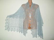 Impresionante 100% Pure Cashmere Encaje Chal/Bufanda. Col. Azul de Cielo