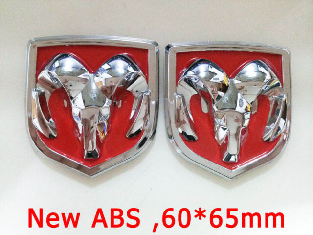 New 2x ABS Red Hood Head Grill Tailgate Trunk Emblem Badge for Dodge Ram 60*65mm